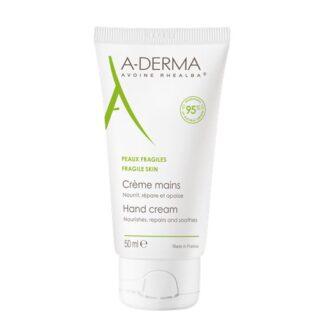 A-Derma Creme de Mãos 50ml, o creme de mãos A-DERMA nutre, repara e acalma as mãos muito secas e agredidas diariamente. Fórmula natural com 95% de ingredientes de origem natural