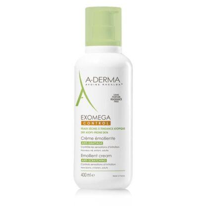 A-Derma Exomega Control Creme Emoliente 400ml, o Creme emoliente EXOMEGA CONTROL cosmética estéril acalma todas as peles secas de tendência atópica desde o nascimento.