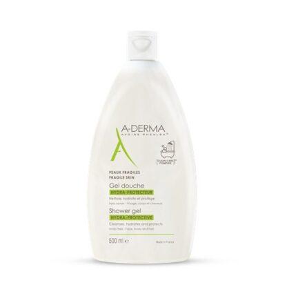 A-Derma Gel Duche Hidro-Protetor 500ml, ogel duche hidra-protetor A-DERMA é o produto ideal para a higiene diária, que limpa com suavidade, hidrata e protege a pele frágil de toda a família (> 2 anos).