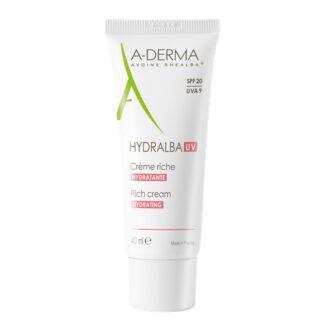A-Derma Hydralba Uv Creme Hidratante Rico 40ml, creme hidratante hidrata imediatamente e de forma duradoura, reequilibra as peles frágeis e protege-as das agressões externas (radiação UVA/UVB, poluição, etc.)