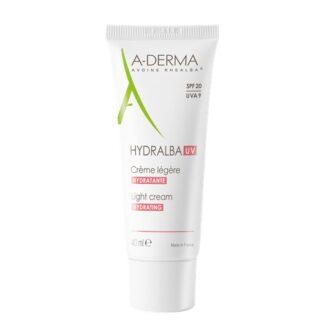 A-Derma Hydralba Uv Creme Hidratante Ligeiro 40ml, creme hidratante hidrata imediatamente e de forma duradoura, reequilibra as peles frágeis e protege-as das agressões externas (radiação UVA/UVB, poluição, etc.)