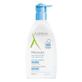 A-Derma Primalba Leite Toilette Suave 500ml, o leite de limpeza PRIMALBA limpa com suavidade, acalma e hidrata a pele frágil do bebé