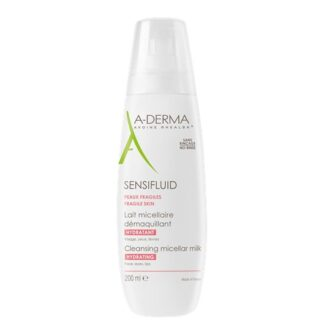 A-Derma Sensifluid Leite Micelar 200ml, leite micelar desmaquilha e limpa as peles frágeis e delicadas com a sua textura única, fresca e láctea. Textura conforto que não seca a pele