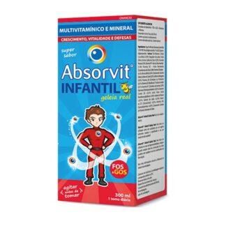 Absorvit Infantil Geleia Real 300ml, contém prebióticos, FOS e GOS. Com a finalidade de aumentarem a capacidade do organismo para absorver os minerais e sintetizar vitaminas. Ainda assim ajudam a regular o trânsito intestinal e contribuem para o reforço do sistema imunitário.