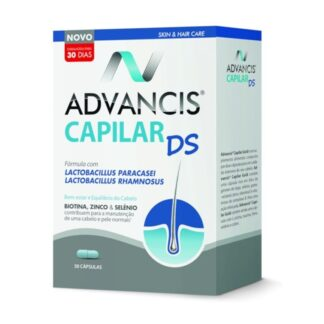 Advancis Capilar DS 30 Cápsulas é um suplemento alimentar com uma fórmula inovadora e otimizada,