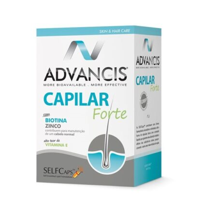 Advancis Capilar Forte 60 Cápsulas,com a finalidade de diminuir a queda de cabelo, aumentar a sua resistência, densidade e crescimento e fortalecer as unhas.