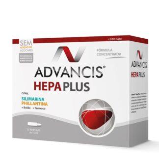 Advancis Hepa Plus 20 Ampolas, suplemento alimentar. Com a finalidade de manutenção do bom funcionamento do fígado e da vesícula biliar. Além disso tem presente uma dupla ação, colerética e diurética.