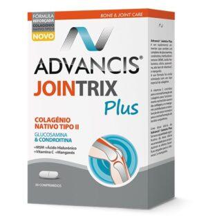 Advancis Jointrix Plus 30 comprimidos, suplemento alimentar. Com a finalidade de regeneração das cartilagens e de aliviar a dor nas articulações. Ainda assim contém a ação anti-inflamatória.