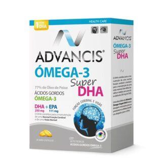Advancis Omega-3 Super DHA 30 Cápsulasé um suplemento alimentar na forma de mini-cápsulas de óleo de peixe concentrado, com alto teor de ácidos gordos ómega-3 polinsaturados,