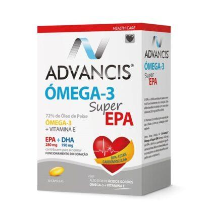Advancis Omega-3 Super Epa 30 Cápsulasé um suplemento alimentar na forma de cápsulas de óleo de peixe concentrado com alto teor de ácidos gordos ómega-3 polinsaturados, em EPA (ácido eicosapentaenóico) e em DHA (ácido docosahexaenóico), para o bem-estar cardiovascular