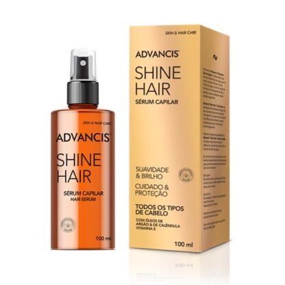 Advancis Shine Hair Sérum Capilar 100ml, é enriquecido com o precioso óleo de argão e as poderosas propriedades do óleo de calêndula.
