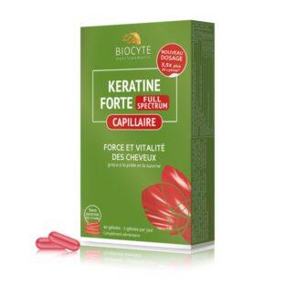 Biocyte Keratine Extra Plus 40 Cápsulas,suplemento alimentar de toma diária à base de queratina, vitaminas do complexo B, zinco e cobre. Especialmente formulado para fortificar o cabelo fraco e sem vida.
