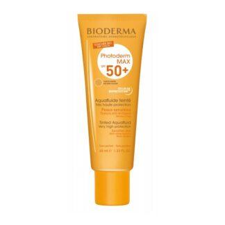 Bioderma Photoderm Max SPF 50+ Aquafluide Teinte Dourado 40ml proteção solar muito elevada, leve como a água, com um toque seco.