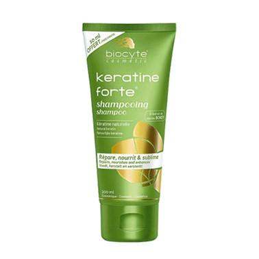 Biocyte Keratine Forte Champô 200ml,champoo de uso diário. Contém os 18 aminoácidos do cabelo. Ideal para proteger das agressões externas. Permite progressivamente a regeneração do cabelo.