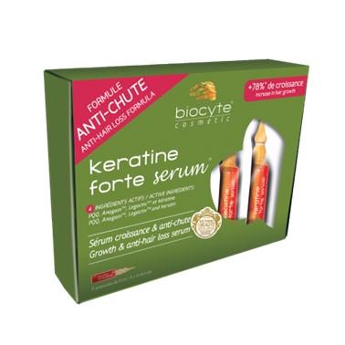Biocyte Keratine Forte Sérum 5x9ml Ampolas, osérum anti-queda capilar, tecnologicamente mais avançado do mercado. Este sérum é o único produto que exerce ação ao nível das principais fases responsáveis pela queda do cabelo e pelo crescimento capilar.