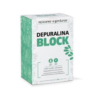 Depuralina Block 60 Cápsulas é um Suplemento Alimentar à base de: Chitosan, Faseolamina, Café Verde, Aloé Vera, Vitamina B6, Crómio e Zinco.