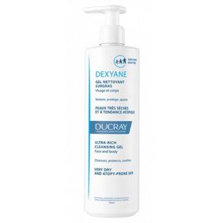 Ducray Dexyane Gel Limpeza 400ml, gel de limpeza gordo de alta tolerância suavizante para a pele muito seca e de tendência atópica. Pele com tendência atópica. A partir de 3 anos de idade