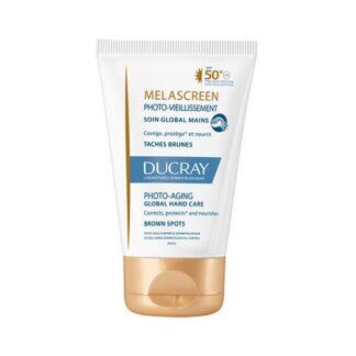 Ducray Melascreen Creme Mãos Spf50 50ml, envelhecimento cutâneo ligado ao sol: associação de manchas castanhas, rugas e perda de firmeza da pele
