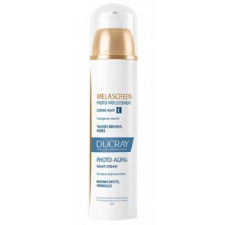 Ducray Melascreen Creme Noite 50ml, envelhecimento cutâneo ligado ao sol: associação de manchas castanhas, rugas e perda de firmeza da pele