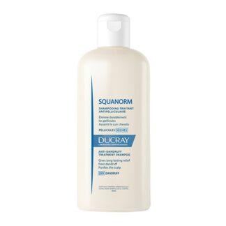 Ducray Squanorm Champô Caspa Seca 200ml, elimina de forma duradoura a caspa seca não aderente e purifica o couro cabeludo.