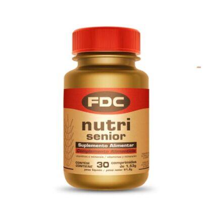 FDC Nutri Senior 30 Comprimidos, fórmula que contém todas as vitaminas, minerais e outros ingredientes essenciais ao bom funcionamento do organismo, promovendo o bem-estar generalizado.