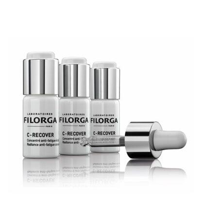 Filorga C-Recover Concentrado Anti Fadiga e Luminosidade 3x10ml,osérum com vitamina C pura ultraconcentrada (8%). De tal forma que permite um efeito potenciador da luminosidade revigorante.