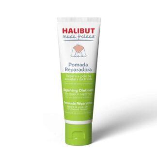 Halibut Muda Fraldas Pomada Reparadora 50gr, pomada, com Óxido de Zinco e Miconazol, que ajuda a reparar a pele na assadura da fralda e a controlar a proliferação de microrganismos na pele.