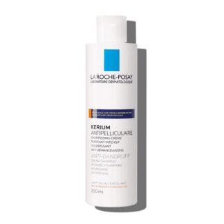 La Roche Posay Kerium Caspa Seca 200 ml,com a finalidade de eliminar a caspa seca localizada e visível . Ainda assim restaura o equilíbrio fisiológico do couro cabeludo.