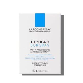 La Roche Posay Lipikar Surgras Sabonete 150 gr, com a finalidade de limpar a pele sem a agredir, respeitando a sua película protetora natural.