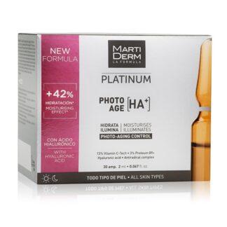 Martiderm Platinum Photo-Age 30 Ampolas, com a finalidade de prevenir os sinais de fotoenvelhecimento e reparar a pele após a exposição solar