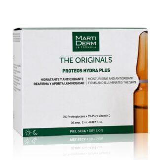 Martiderm The Originals Proteos Hydra Plus 30 Ampolas (Proteoglicanos), com a finalidade dehidratar a pele de forma intensa