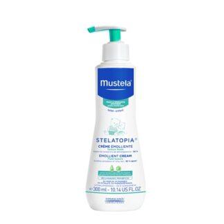 Mustela Stelatopia Creme Emoliente 300ml,com a finalidade de garantir um cuidado emoliente, para o rosto e corpo. Incluindo aliás, bebés provenientes da neonatologia.
