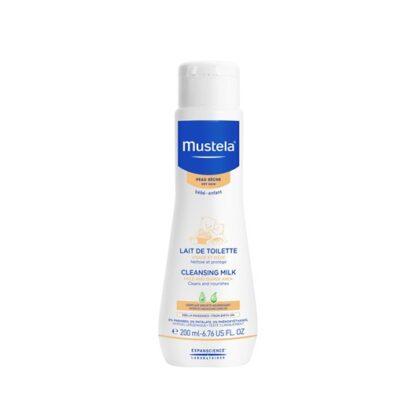 Mustela Leite de Limpeza 200 ml, leite de limpeza certamente suave para o rosto e nádegas dos bebés e crianças, desde o nascimento.