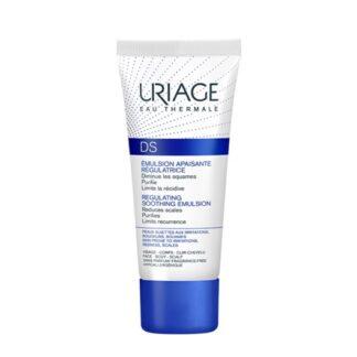 Uriage DS Emulsão Cuidado Regulador 40ml, este cuidado é especialmente formulado para diminuir as irritações, escamas, vermelhidão no rosto (nariz, sobrancelhas e linha do cabelo) e do corpo
