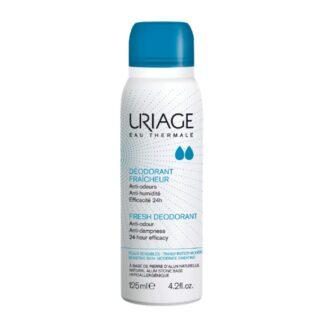 Uriage Desodorizante Spray Refrescante 125ml, o primeiro desodorizante hipoalergénico com pedra de alúmen para uma dupla eficácia 24h contra os odores e a humidade.