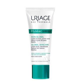 Uriage Hyseac 3-Regul Cuidado Global 40ml , este cuidado global « tudo em um » favorece a eliminação das imperfeições (borbulhas, pontos negros, brilho) deixando a pele lisa e matificada.