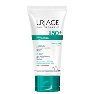 Uriage Hyseac Fluido SPF50 Oli-free 50ml, assegura uma protecção solar eficaz com propriedades adaptadas à pele mista a oleosa. Oferece elevada protecção UVA-UVB de alta performance graças a um novo complexo filtrante sem octocrileno.
