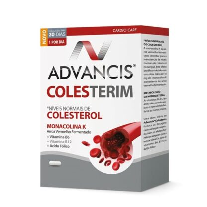 Advancis Colesterim 60 Cápsulas, com a finalidade de reduzir o colesterol total e colesterol LDL e garantir proteção cardiovascular.