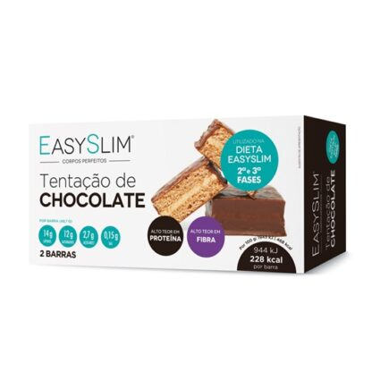 Easyslim Barra Tentação de Chocolate 2 Unidades, ideais para o lanche da manhã ou da tarde, ou para substituir uma refeição, EasySlim®Tentação de Chocolate são a alternativa mais saborosa para os fãs de doces que não querem comprometer a Dieta.