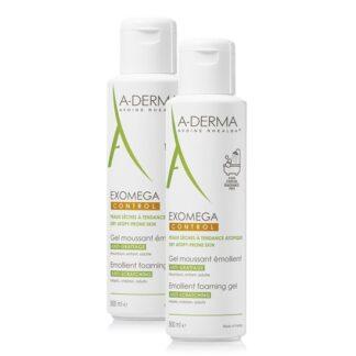 A-Derma Exomega Control Gel Lavante 2x500ml, espuma emoliente limpa com suavidade, acalma e protege a pele seca e de tendência atópica. Acalma a sensação de comichão associada à secura cutânea e protege a pele diariamente contra a secura.