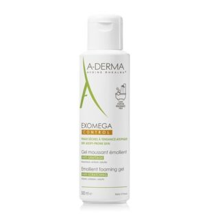 A-Derma Exomega Control Gel Lavante 500ml, espuma emoliente limpa com suavidade, acalma e protege a pele seca e de tendência atópica. Acalma a sensação de comichão associada à secura cutânea e protege a pele diariamente contra a secura.