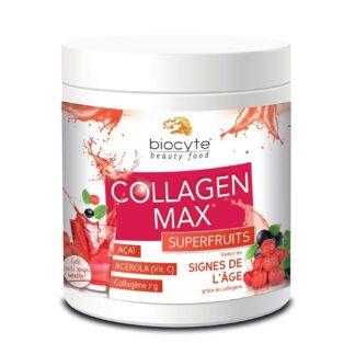Biocyte Collagen Max SuperFruits 260gr suplemento alimentar à base de Colagénio hidrolisado marinho para combater as rugas e a flacidez da pele,