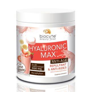 Biocyte Hyaluronic Max Anti-Age 260gr suplemento Alimentar à base de Ácido Hialurónico hidrolisado que hidrata a pele, eliminando pequenas rugas