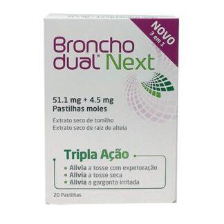 Bronchodual Next 20 Pastilhas medicamento tradicional à base de plantas indicado para o alívio da tosse com expetoração associada à constipação, alívio da tosse seca e alívio da garganta irritada.