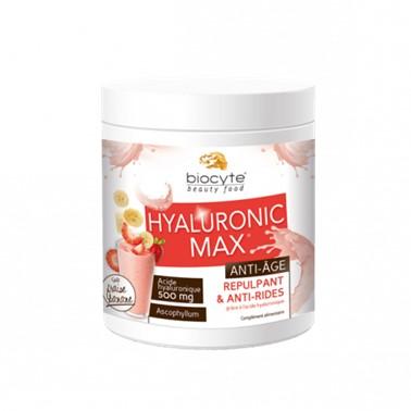 Biocyte Hyaluronic Max Anti-Age 260gr suplemento Alimentar à base de Ácido Hialurónico hidrolisado que hidrata a pele, eliminando pequenas rugas, previne a secura das mucosas e ajuda a lubrificar as articulações.