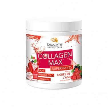 Biocyte Collagen Max SuperFruits 260gr Suplemento Alimentar à base de Colagénio hidrolisado marinho para combater as rugas e a flacidez da pele, Vitamina C que potencia os efeitos do Colagénio e Açaí, um poderoso antioxidante.