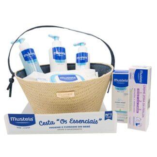 Mustela Cesta Azul Produtos Essenciais ao Bebé, com todos os produtos essenciais necessários para a hidratação, proteção e higiene diárias do seu bebé.