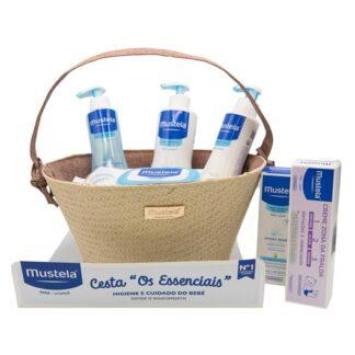 Mustela Cesta Rosa Produtos Essenciais ao Bebé, com todos os produtos essenciais necessários para a hidratação, proteção e higiene diárias do seu bebé.