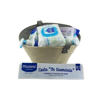 Mustela Cesta Taupe Produtos Essenciais ao Bebé, com todos os produtos essenciais necessários para a hidratação, proteção e higiene diárias do seu bebé.