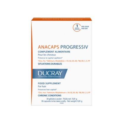Ducray Anacaps Progressivo Anti-Queda 30 Capsulas, asvitaminas capilares Anacaps Progressiv são especialmente indicadas para situações de queda prolongada de cabelo.